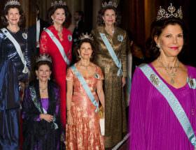 Drottning Silvias fantastiska klänningar på kungamiddagen för Nobelpristagarna på Slottet.