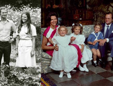 Nostalgi 1984 drottning Silvia, prinsessan Madeleine, kronprinsessan Victoria, prins Carl Philip och kungen.