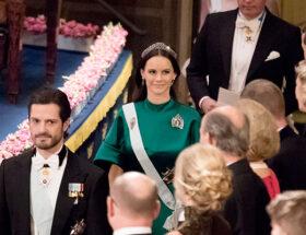 Prinsessan Sofia i en smaragdgrön klänning från Dagmar under Nobel 2016.