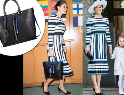 Kronprinsessan Victoria i klänning från Dolce & Gabbana och väska från Dagmar.