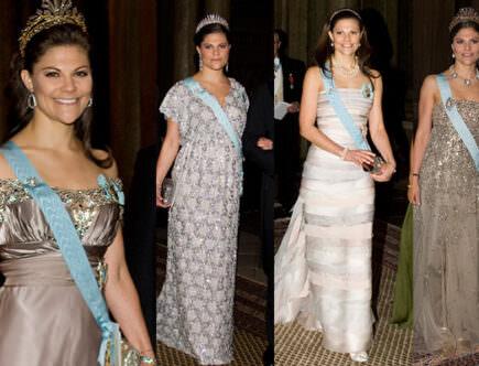 Kronprinsessan Victoria klänningar kungamiddag för Nobelpristagarna