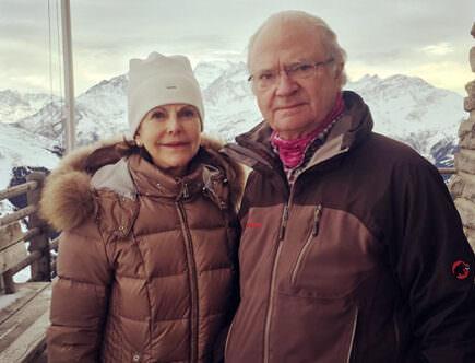Drottning Silvia och kungen i schweiziska Alperna