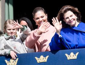 Prinsessan Estelle, kronprinsessan Victoria och drottning Silvia