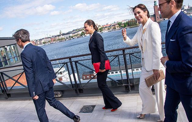 Kronprinsessan Victoria, kronprinsessan Mary, kronprins Frederik och prins Daniel