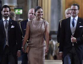 Prins Carl Philip, kronprinsessan Victoria och prins Daniel