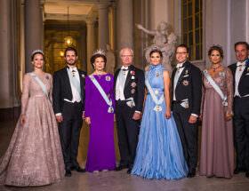 Prinsessan Sofia, prins Carl Philip, drottning Silvia, kungen, kronprinsessan Victoria, prins Daniel, prinsessan Madeleine och Chris O'Neill