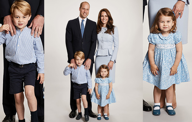 Prins William, hertiginnan Kate, prinsessan Charlotte, prins George