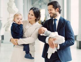 prinsdPrins Carl Philip, prinsessan Sofia och prins Gabriel, prins Alexander dop