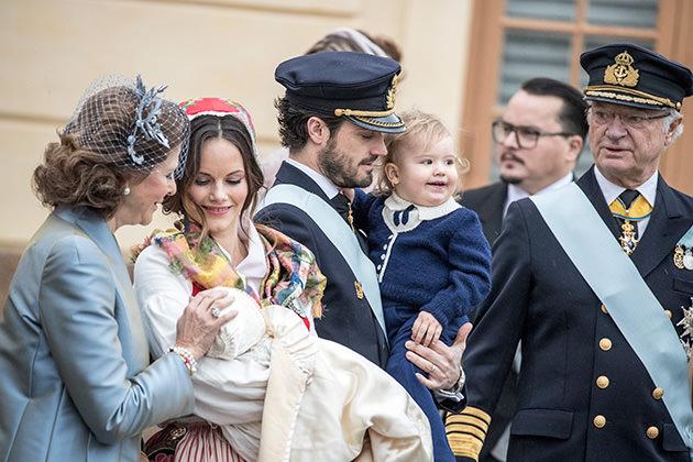 Prins Gabriels dop, prinsessan Sofia, prins Gabriel, prins Carl Philip, prins Oscar och prinsessan Sofia