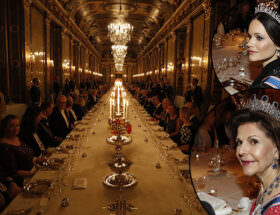 Galamiddag slottet, drottning Silvia och prinsessan Sofia