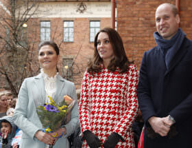 Hertiginnan Kate, prins William, Kkronprinsessan Victoria och prins Daniel.