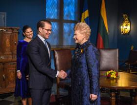 President Dalia Grybauskaite, kronprinsessan Victoria och prins Daniel