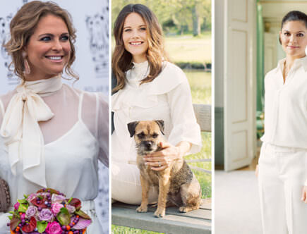 Prinsessan Madeleine, prinsessan Sofia och kronprinsessan Victoria, vitt mode