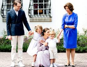 Prins Daniel, prinsessan Estelle, kronprinsessan VIctoria, prins Oscar, drottning Silvia, Solliden