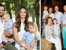 Prins Carl Philip, prinsessan Sofia, prins Alexander, prins Gabriel, Kungen, drottningen, kronprinsessan Victoria, prins Daniel, prins Oscar och prinsessan Estelle