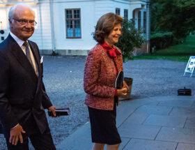 Kungen och drottning Silvia på Drottningholms slottsteater