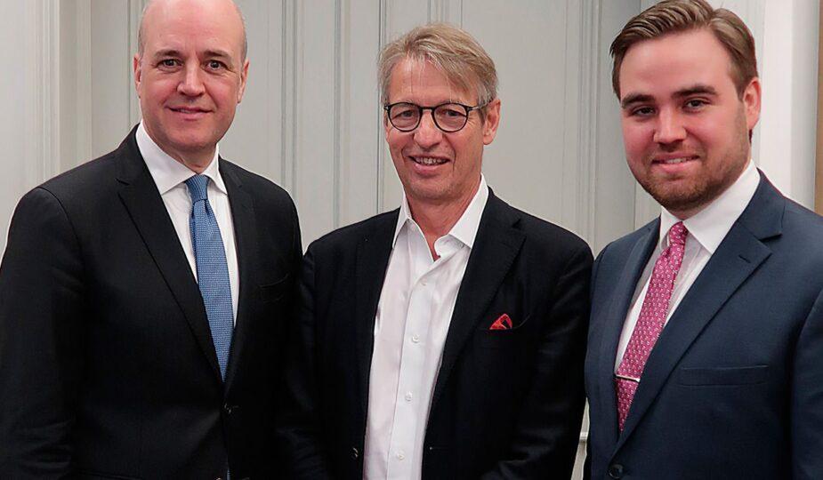 Fredrik Reinfeldt, Albert Bonnier och Gustaf Reinfeldt.